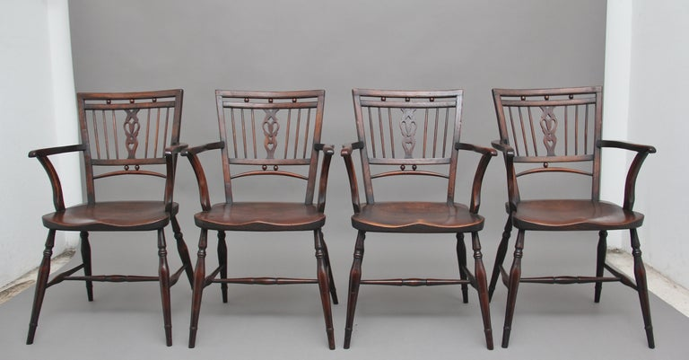 English Set of Four Early 20th Century Mendlesham armchairs made from ash, yew and elm For Sale