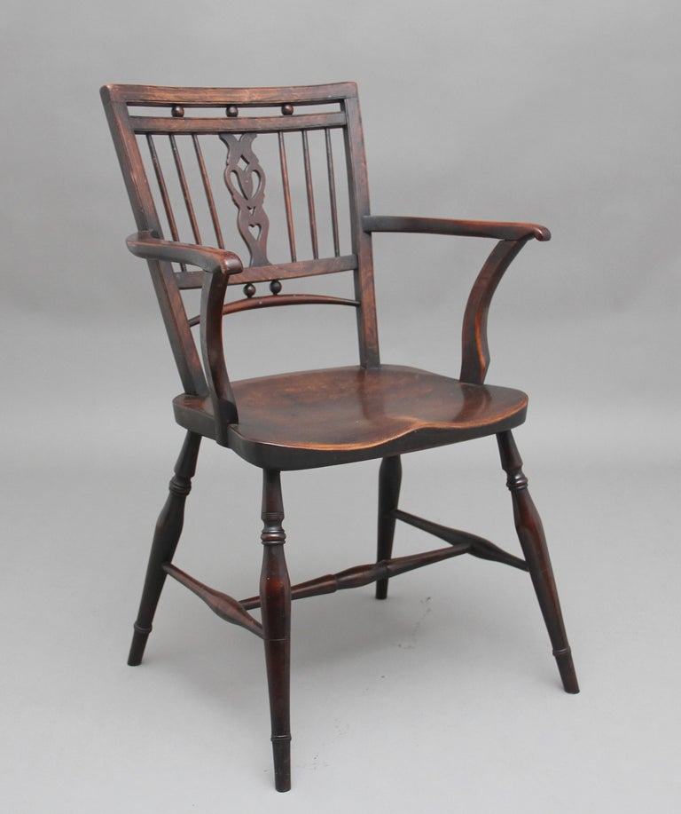Set of Four Early 20th Century Mendlesham armchairs made from ash, yew and elm In Good Condition For Sale In Martlesham, GB