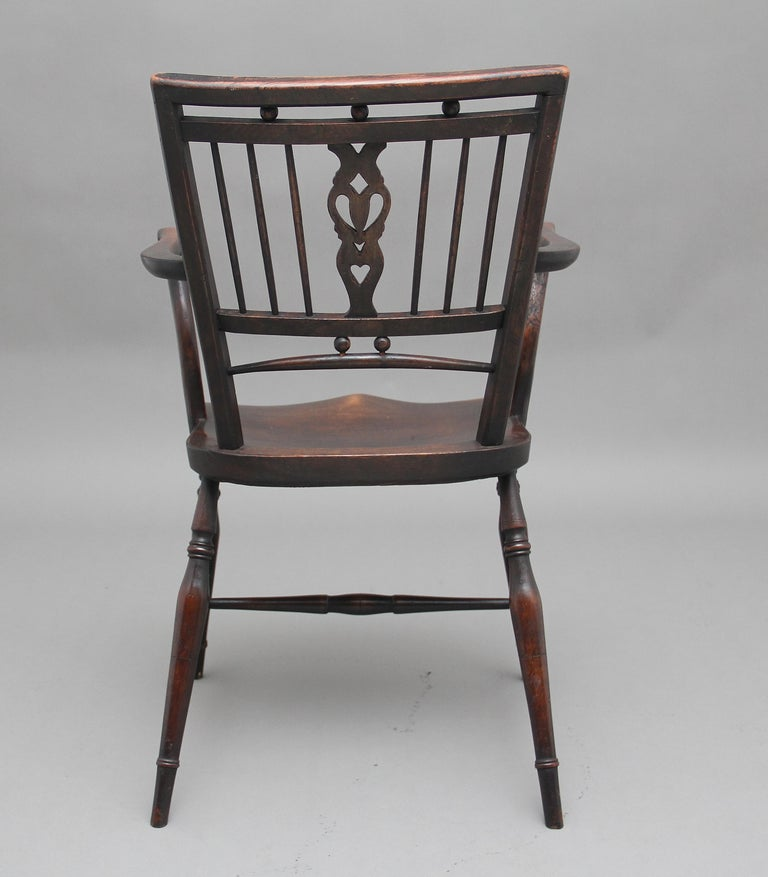 Set of Four Early 20th Century Mendlesham armchairs made from ash, yew and elm For Sale 1