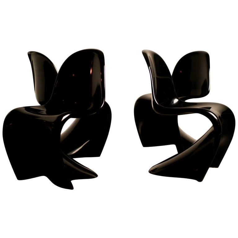 Set of Four Early Black Panton Chairs For Sale