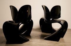 Set of Four Early Black Panton Chairs