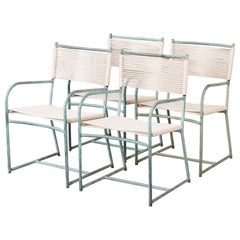 Set of Four Early Walter Lamb Bronze Patio Dining Armchairs