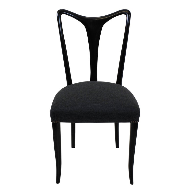 Mid-Century Modern Set of Four Ebonized Ulrich Dining Chairs