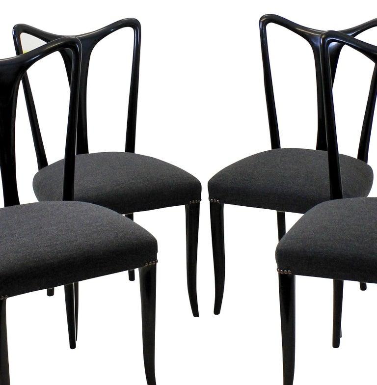 Italian Set of Four Ebonized Ulrich Dining Chairs