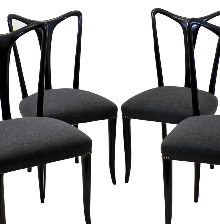 Italian Set of Four Ebonized Ulrich Dining Chairs