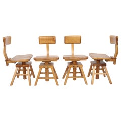 Set of Four Edward L. Koenig Adjustable Architects Chairs in Maple, circa 1940