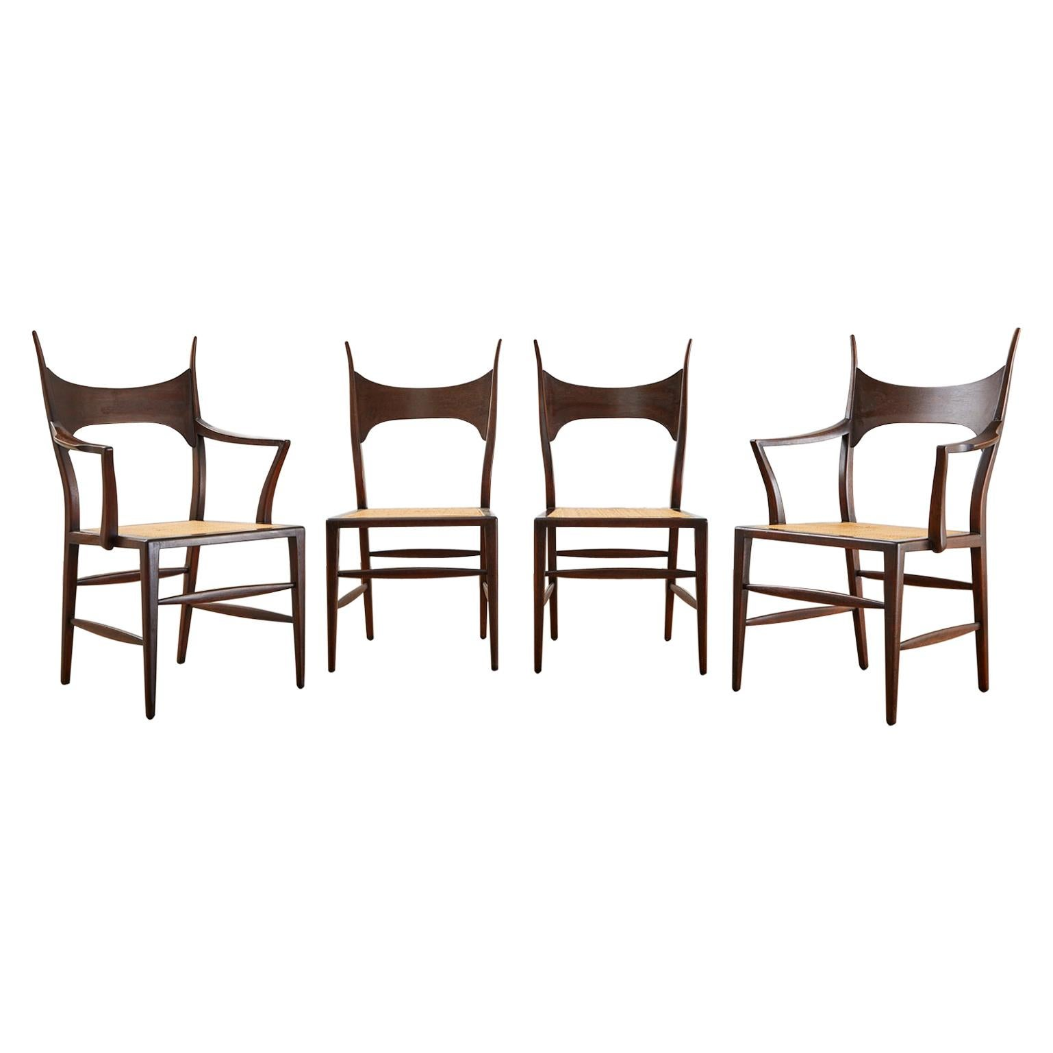 Set of Four Edward Wormley for Dunbar Horned Dining Chairs