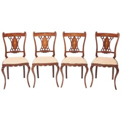Set of Four Edwardian Rosewood Inlaid Dining Chairs