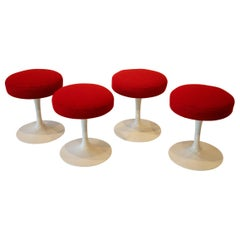 Set of Four Eero Saarinen for Knoll Swivel Stools in Red Cato Textile