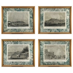 Set of Four Elba Island Italian Views Lithographs by French Andre Durand, 1862
