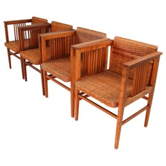 Set of Four Elm and Cane Armchairs by Hans Vollmer for Prag-Rudniker, Vienna