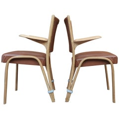 Set of Four Elm Wood Chairs by Bow Wood France, circa 1950