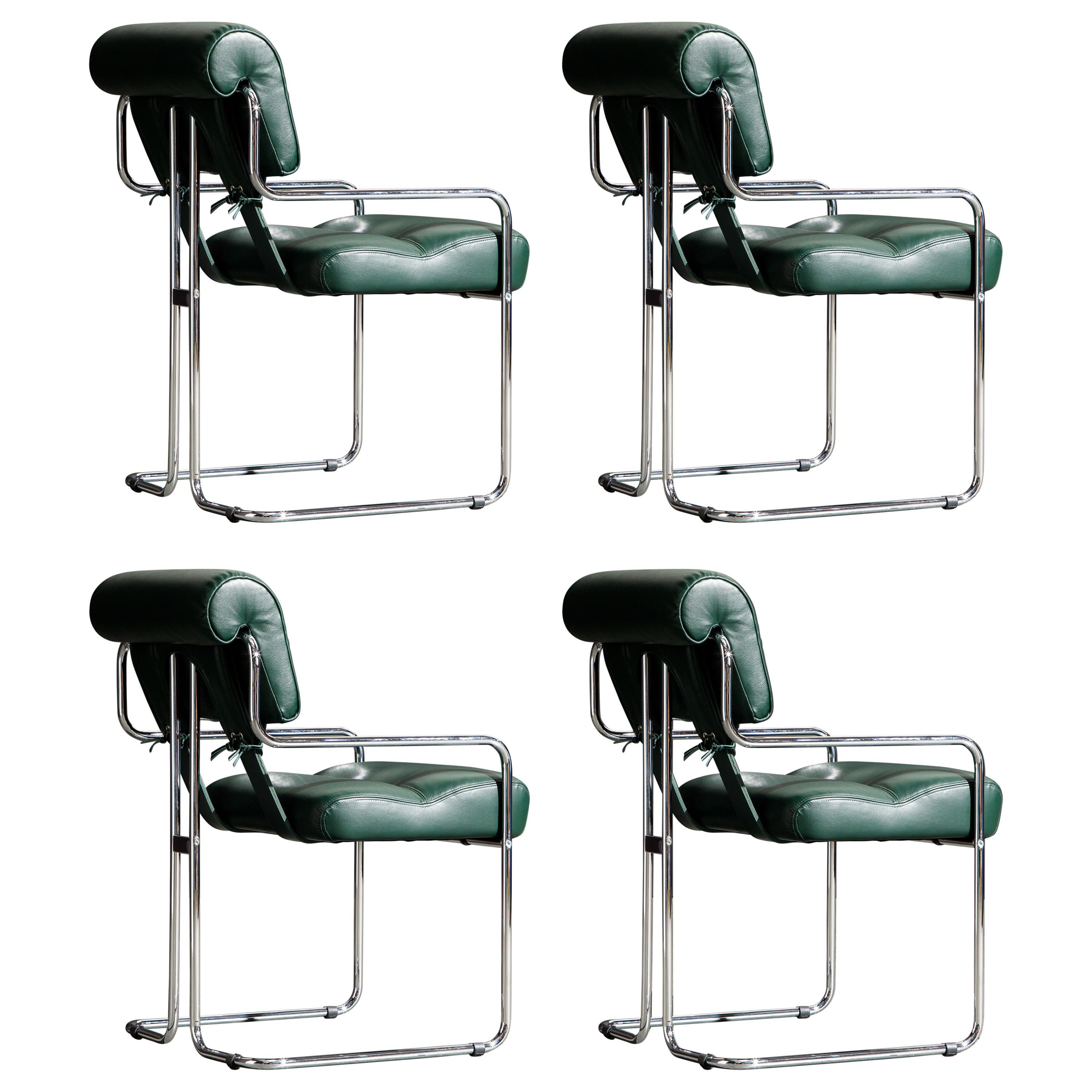 Set of Four Emerald Green Leather Tucroma Chairs by Guido Faleschini for Mariani
