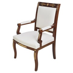 Set of Four Empire Armchairs in Mahogany with Ormolu Mounts, France, circa 1920