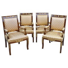 Set of Four Empire Armchairs in Mahogany W/ Ormolu Mounts, France, circa 1920