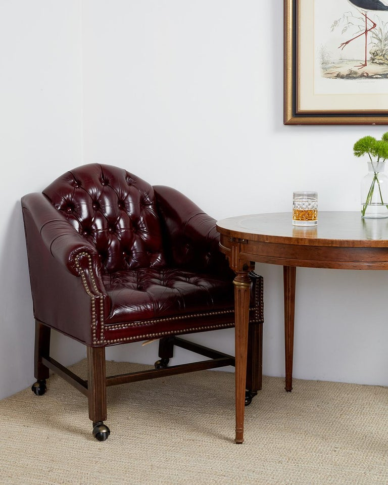 Set Of Four English Chesterfield Style Leather Desk Chairs