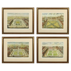 Set of Four English Court Etchings in Gilt Frames