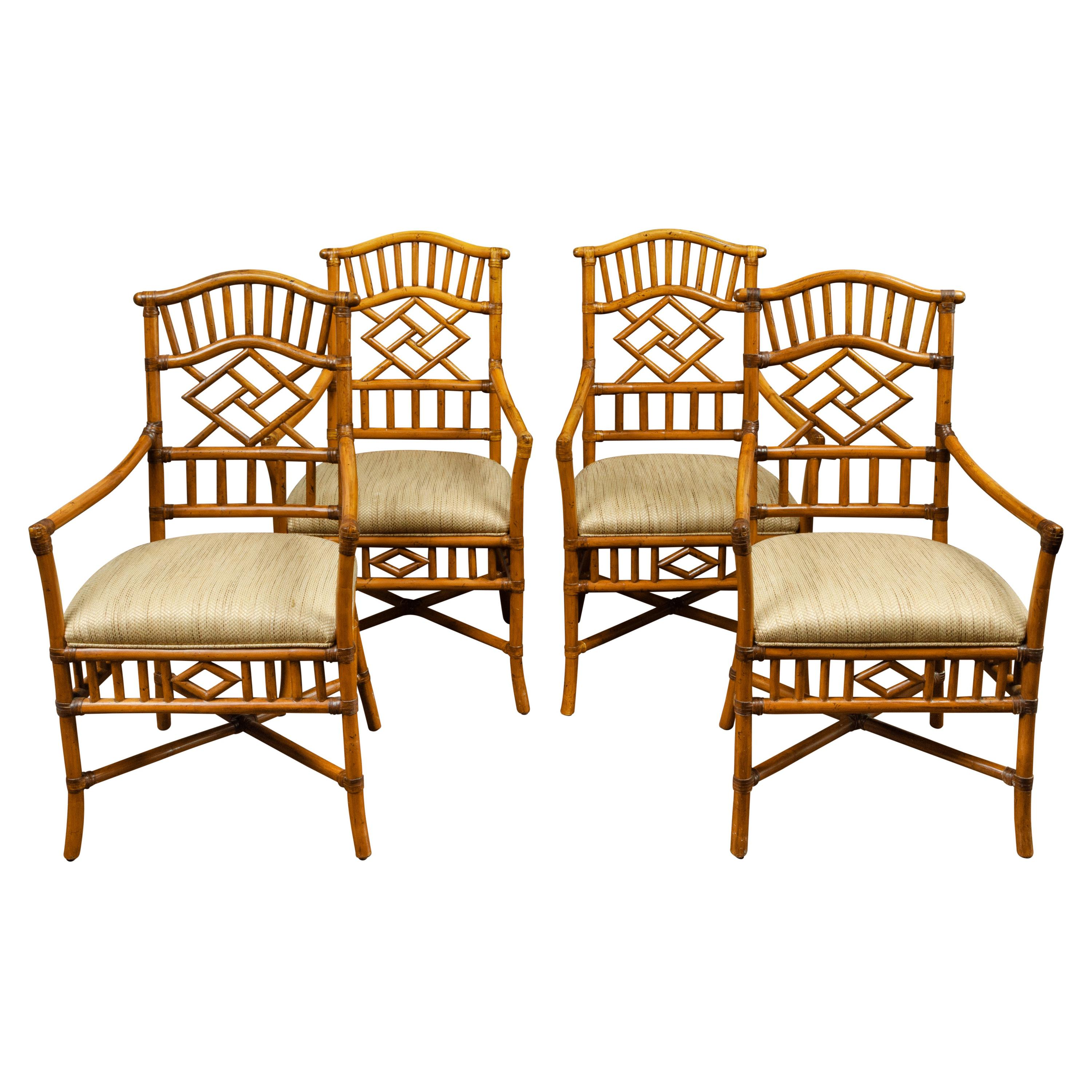Set of Four English Midcentury Walnut Faux Bamboo Upholstered Armchairs