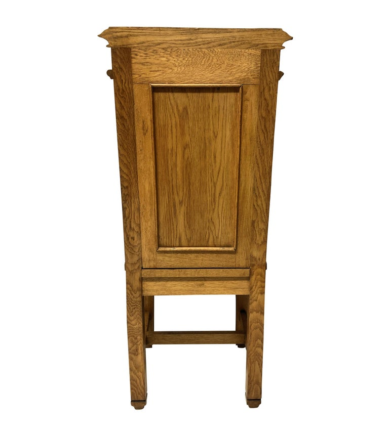 Set of Four English Oak Gothic Hall Chairs 1