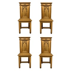 Set of Four English Oak Gothic Hall Chairs