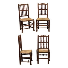 Set of Four English Oak Spindle Back Chairs with Rush Seats