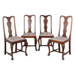 Set of Four English Queen Anne Dining Chairs