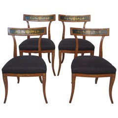 Set of Four English Regency Fruitwood Side Chairs, Chinoiserie Decorated