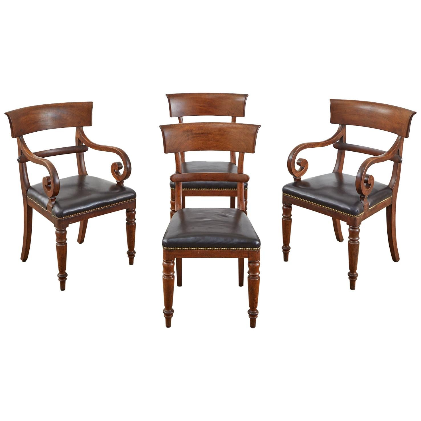 Set of Four English Regency Mahogany Dining Chairs
