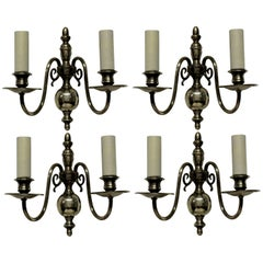 Set of Four English Silver Plated Sconces