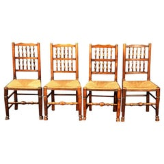 Set of Four English Spindle-Back Rush Seat Chairs with Rush Seats