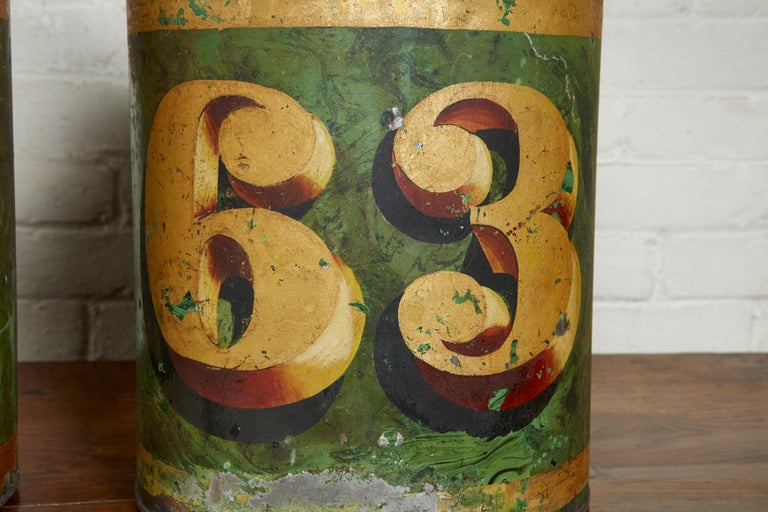 Set of Four English Tea Tins In Distressed Condition For Sale In Bridgeport, CT