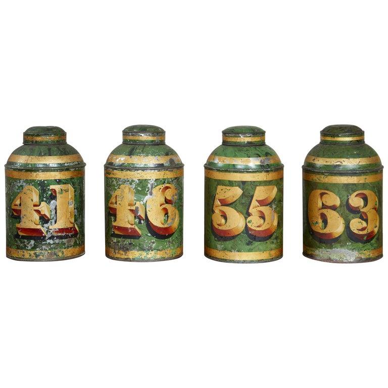 Set of Four English Tea Tins For Sale