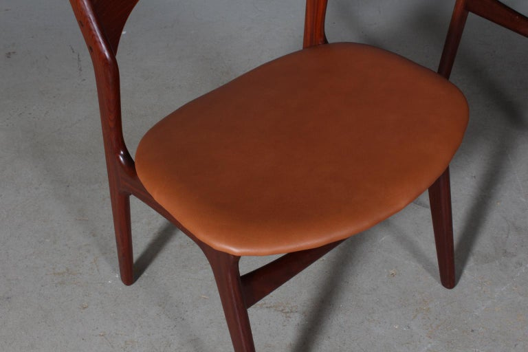 Leather Set of Four Erik Buch Chairs For Sale