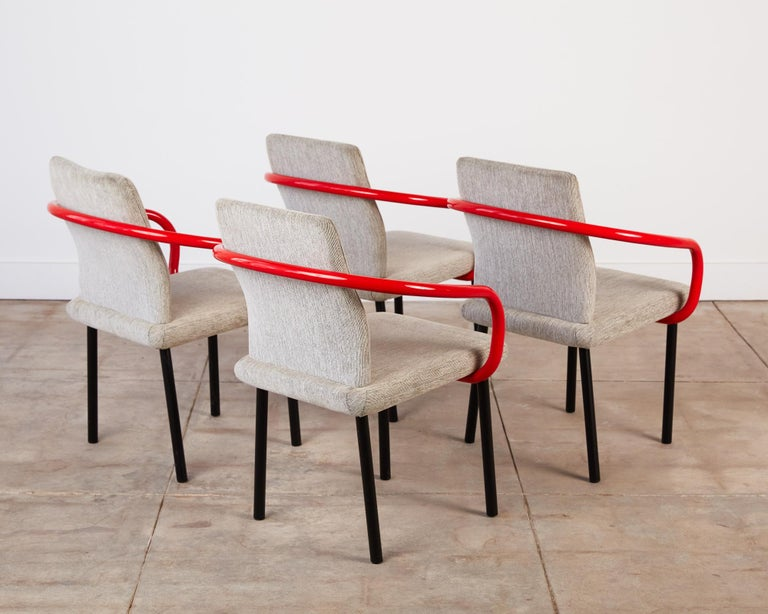Enameled Set of Four Ettore Sottsass for Knoll Mandarin Chairs For Sale