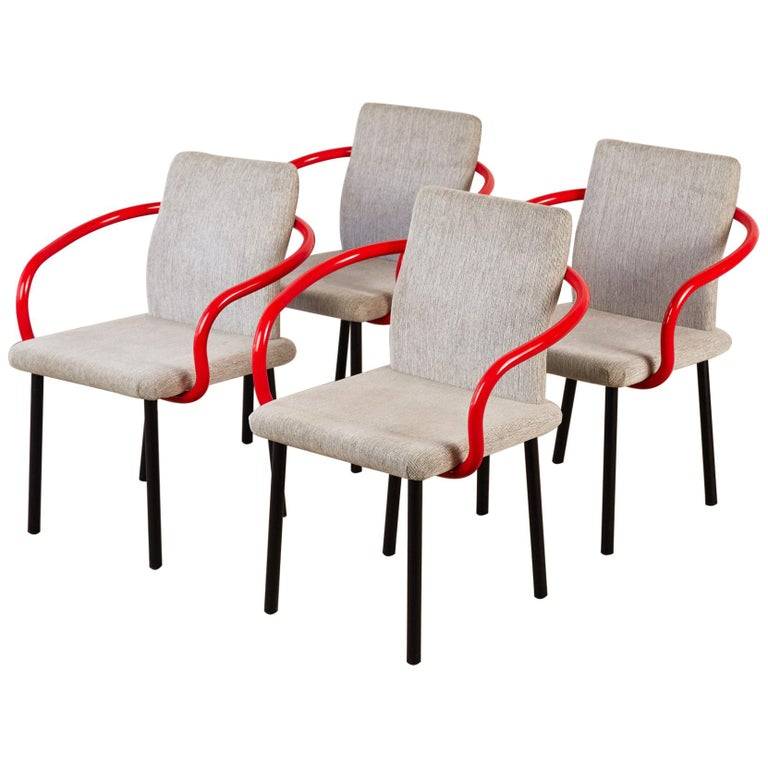 Set of Four Ettore Sottsass for Knoll Mandarin Chairs For Sale