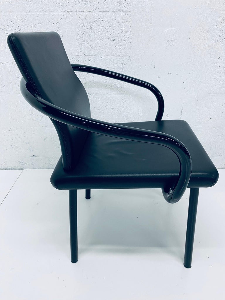 """Set of Four Ettore Sottsass """"Mandarin"""" Black Naugahyde Dining Chairs for Knoll For Sale 3"""