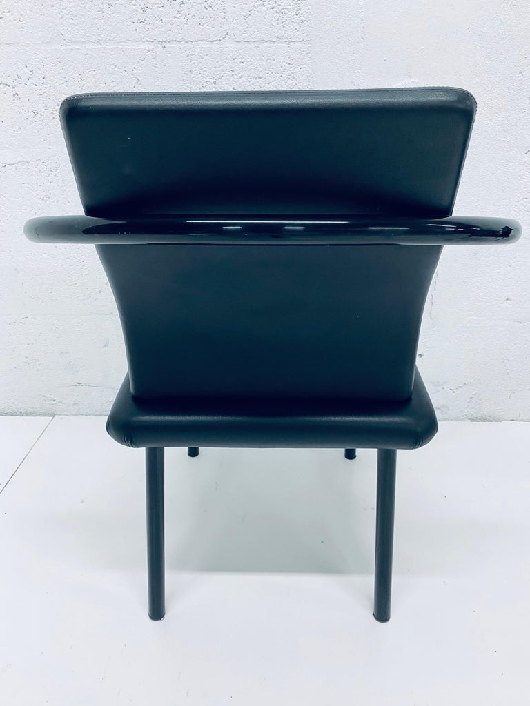 """Set of Four Ettore Sottsass """"Mandarin"""" Black Naugahyde Dining Chairs for Knoll For Sale 4"""