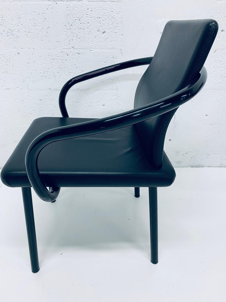 """Set of Four Ettore Sottsass """"Mandarin"""" Black Naugahyde Dining Chairs for Knoll For Sale 5"""