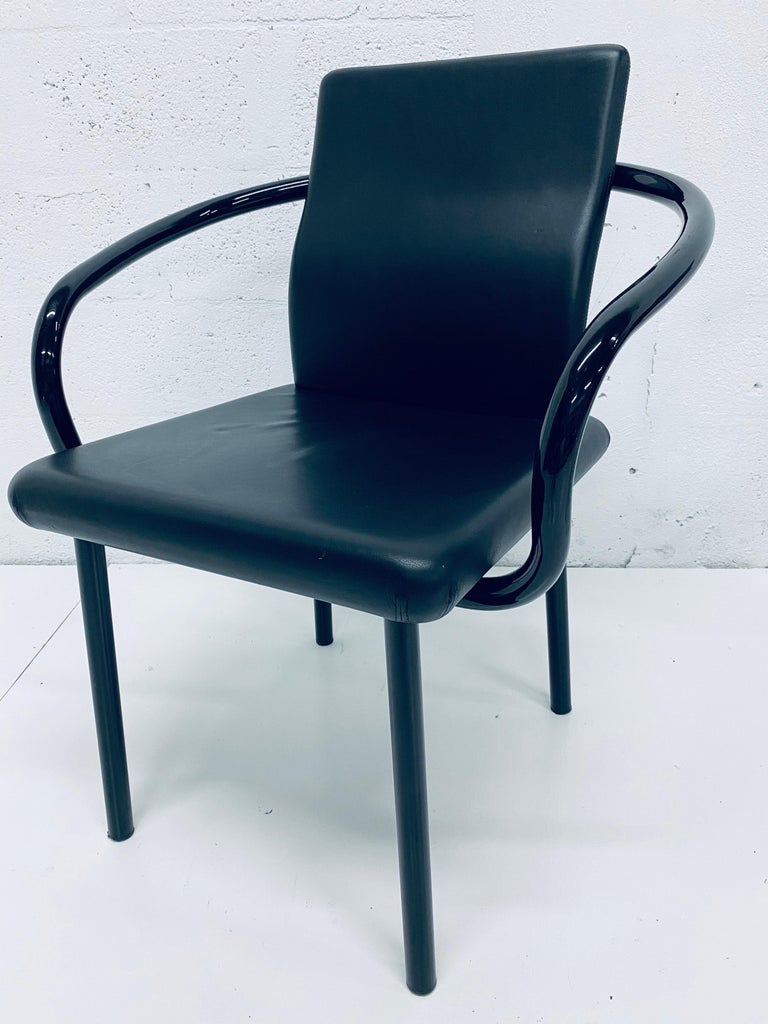 """Set of Four Ettore Sottsass """"Mandarin"""" Black Naugahyde Dining Chairs for Knoll For Sale 6"""