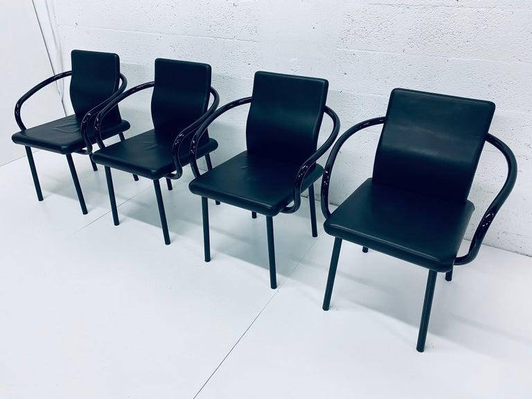 "Post-Modern Set of Four Ettore Sottsass ""Mandarin"" Black Naugahyde Dining Chairs for Knoll For Sale"