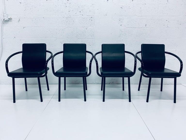 "Italian Set of Four Ettore Sottsass ""Mandarin"" Black Naugahyde Dining Chairs for Knoll For Sale"