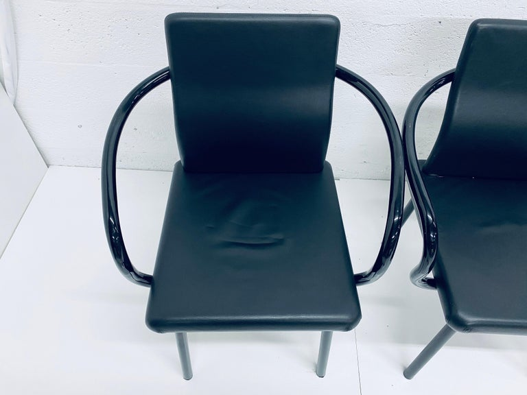 """Set of Four Ettore Sottsass """"Mandarin"""" Black Naugahyde Dining Chairs for Knoll In Good Condition For Sale In Miami, FL"""