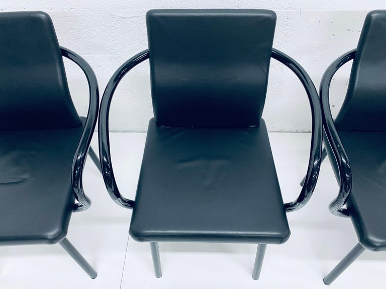"""Late 20th Century Set of Four Ettore Sottsass """"Mandarin"""" Black Naugahyde Dining Chairs for Knoll For Sale"""