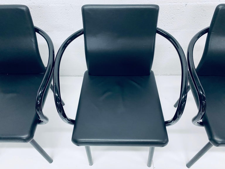 """Steel Set of Four Ettore Sottsass """"Mandarin"""" Black Naugahyde Dining Chairs for Knoll For Sale"""