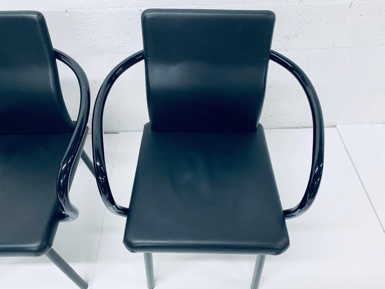 """Set of Four Ettore Sottsass """"Mandarin"""" Black Naugahyde Dining Chairs for Knoll For Sale 1"""