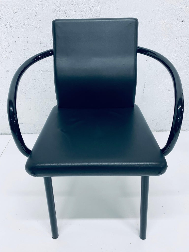 """Set of Four Ettore Sottsass """"Mandarin"""" Black Naugahyde Dining Chairs for Knoll For Sale 2"""