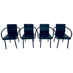 "Set of Four Ettore Sottsass ""Mandarin"" Black Leather Dining Chairs for Knoll"