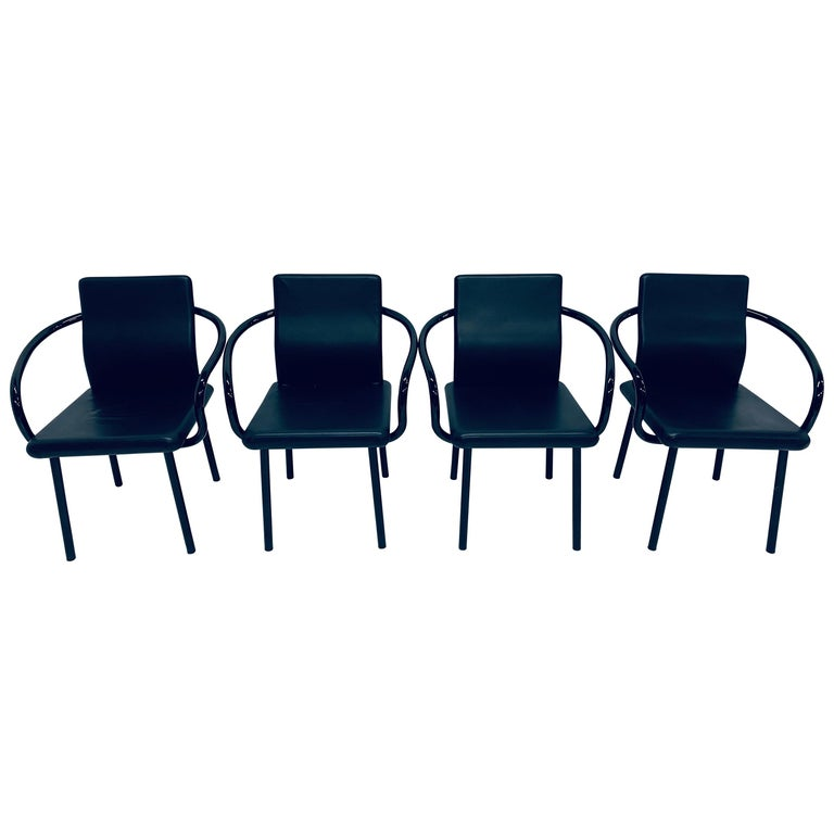 """Set of Four Ettore Sottsass """"Mandarin"""" Black Naugahyde Dining Chairs for Knoll For Sale"""