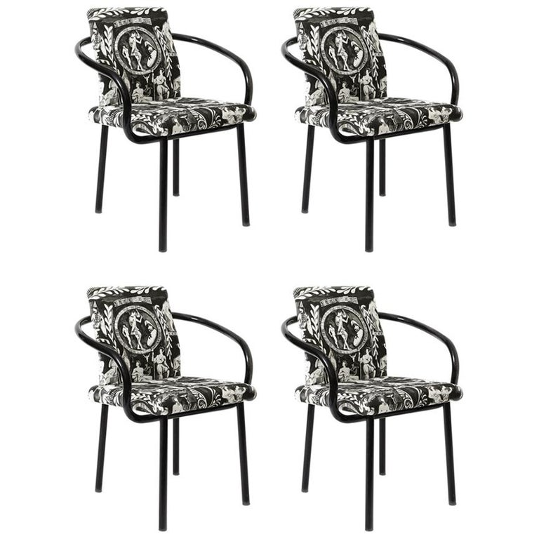 Set of Four Black Ettore Sottsass Mandarin Chairs by Knoll For Sale