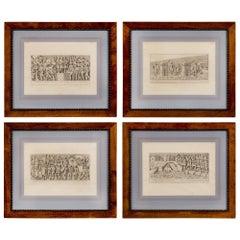 Set of Four European 19th Century Prints in Their Original Oak Frames